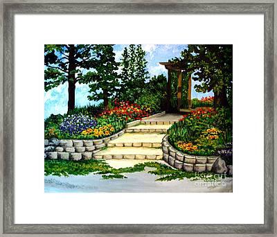 Trellace Gardens Framed Print by Elizabeth Robinette Tyndall