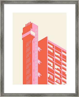 Trellick Tower London Brutalist Architecture - Plain Cream Framed Print