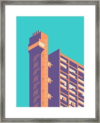 Trellick Tower London Brutalist Architecture - Plain Cyan Framed Print