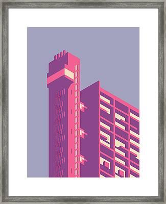 Trellick Tower London Brutalist Architecture - Plain Lavender Framed Print