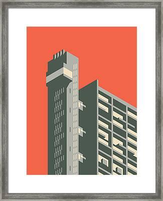 Trellick Tower London Brutalist Architecture - Plain Red Framed Print