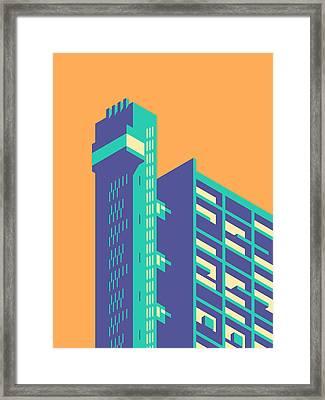 Trellick Tower London Brutalist Architecture - Plain Tangerine Framed Print