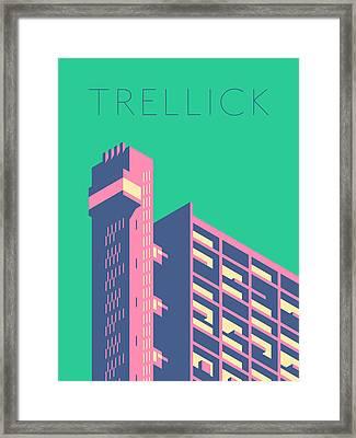 Trellick Tower London Brutalist Architecture - Text Cream Framed Print