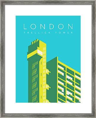 Trellick Tower London Brutalist Architecture - Text Cyan Framed Print