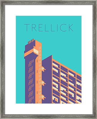 Trellick Tower London Brutalist Architecture - Text Green Framed Print