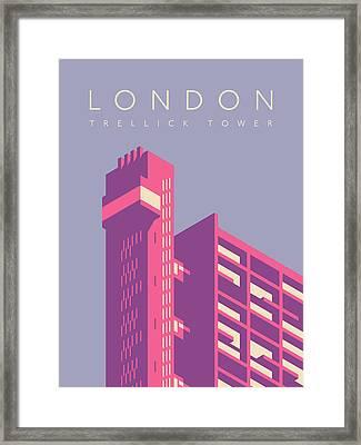 Trellick Tower London Brutalist Architecture - Text Lavender Framed Print