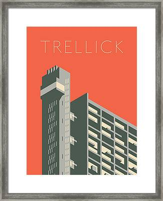 Trellick Tower London Brutalist Architecture - Text Red Framed Print