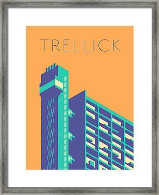 Trellick Tower London Brutalist Architecture - Text Tangerine Framed Print