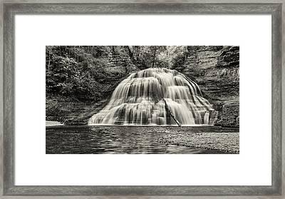 Treman Lower Falls - Sepia Framed Print