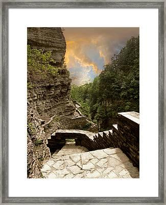 Treman Park Gorge Framed Print by Jessica Jenney