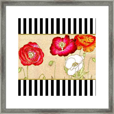 Trendy Red Poppy Floral Black And White Stripes Framed Print by Tracie Kaska