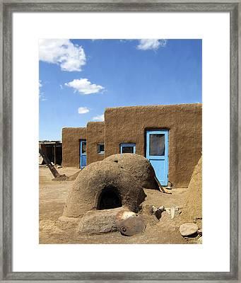 Tres Casitas Taos Pueblo Framed Print