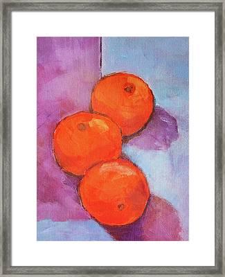 Tres Naranjas Framed Print by Arte Costa Blanca