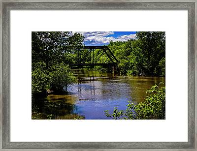 Framed Print featuring the photograph Trestle Over River by Mark Myhaver