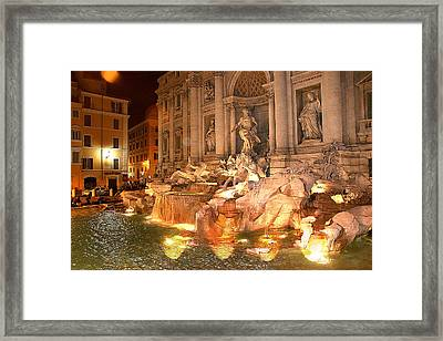 Trevi Fountain At Night Framed Print by Jim Kuhlmann