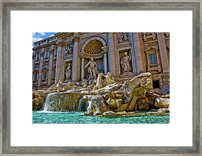 Framed Print featuring the photograph Trevi Fountain From Right Side  by Harry Spitz