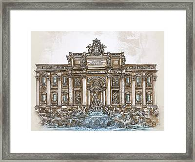 Framed Print featuring the painting  Trevi Fountain,rome  by Andrzej Szczerski