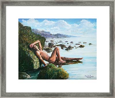 Trevor On The Beach Framed Print