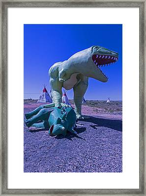 Trex And Triceratops  Framed Print by Garry Gay