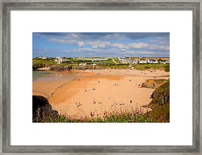 Treyarnon Bay Beach Cornwall England Uk Cornish North  Framed Print by Michael Charles