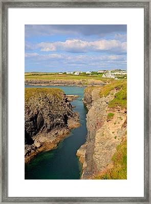 Treyarnon Bay Coast Cornwall England Uk Cornish North Colourful  Framed Print by Michael Charles
