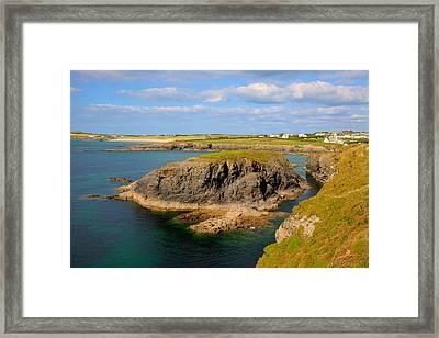 Treyarnon Bay Coast Cornwall England Uk Cornish North Colourful Scene Framed Print by Michael Charles