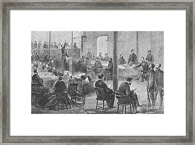 Trial Of Lincoln Assassins, 1865 Framed Print by Photo Researchers