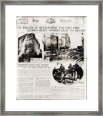 Triangle Shirtwaist Company Fire Framed Print by Everett