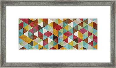 Triangles Circus Oil Panoramic Framed Print by Francisco Valle