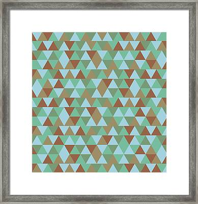 Triangular Geometric Pattern - Blue Green Brown Framed Print