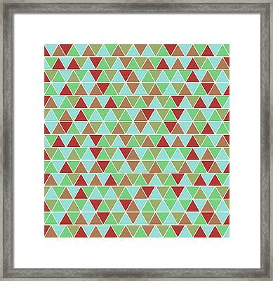 Triangular Geometric Pattern - Blue, Green, Maroon, Brown Framed Print