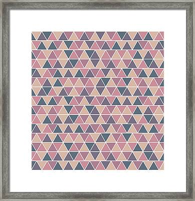 Triangular Geometric Pattern - Warm Colors 01 Framed Print