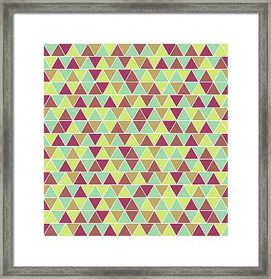Triangular Geometric Pattern - Warm Colors 03 Framed Print