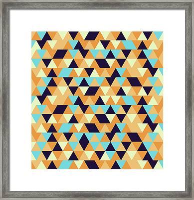Triangular Geometric Pattern - Warm Colors 06 Framed Print