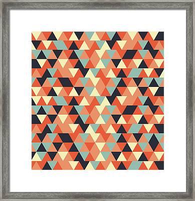 Triangular Geometric Pattern - Warm Colors 09 Framed Print