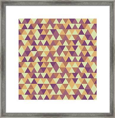 Triangular Geometric Pattern - Warm Colors 10 Framed Print