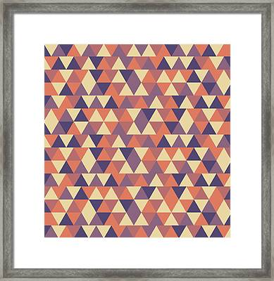 Triangular Geometric Pattern - Warm Colors 12 Framed Print
