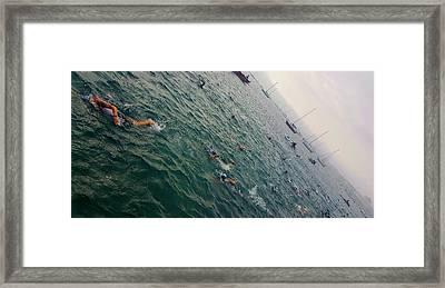 Triathlon Race In Lake Michigan Framed Print by Britten Adams
