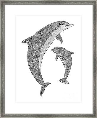 Tribal Bottle Nose Dolphin And Calf Framed Print