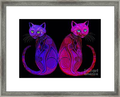 Framed Print featuring the digital art Tribal Cats by Nick Gustafson