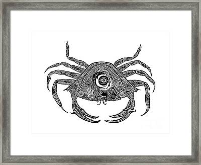 Tribal Crab Framed Print by Carol Lynne