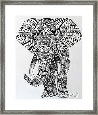 Framed Print featuring the painting Tribal Elephant by Ashley Price