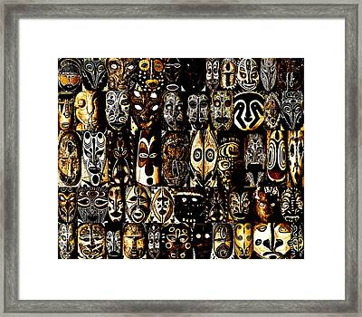 Tribal Masks Of Papua New Guinea Framed Print by Per Lidvall