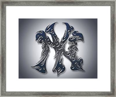 Tribal New York Yankees Framed Print by Fairchild Art Studio