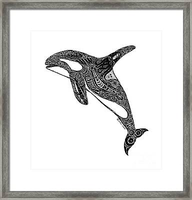 Tribal Orca Framed Print by Carol Lynne