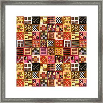 Tribal Quilt Framed Print by Bedros Awak