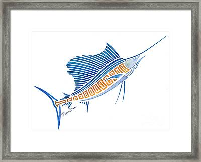 Tribal Sailfish Framed Print