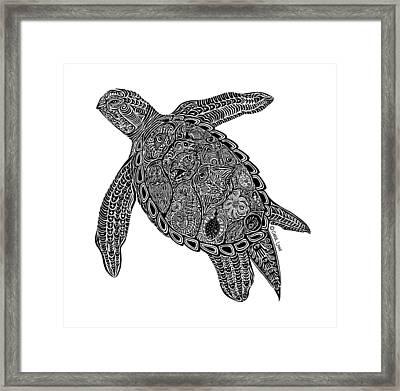 Tribal Turtle I Framed Print by Carol Lynne