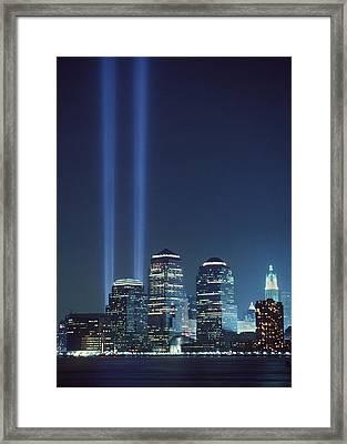 Tribute Of Light Represents The Fallen Framed Print