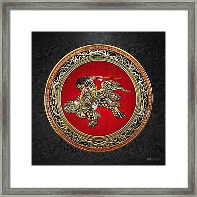 Tribute To Hokusai - Shoki Riding Lion  Framed Print